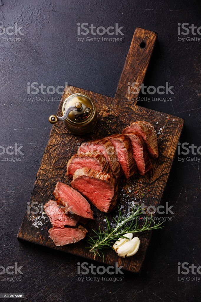 Sliced tenderloin Steak Roast beef stock photo