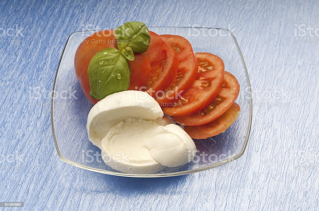 sliced tomato and mozzarella royalty-free stock photo