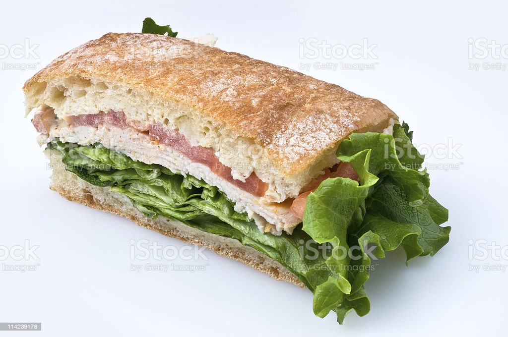 Sliced turkey breast ciabatta royalty-free stock photo