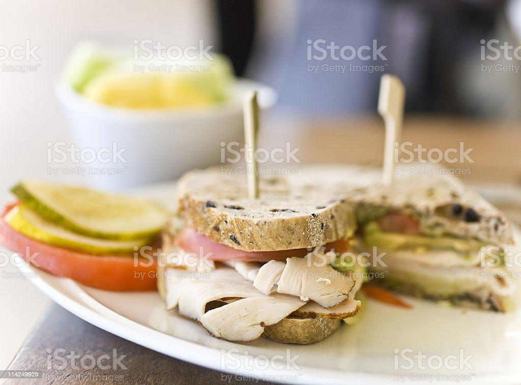 Sliced Turkey breast sandwich royalty-free stock photo