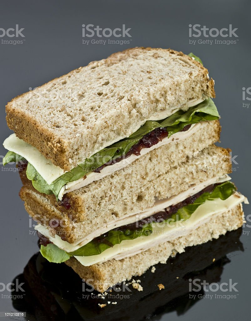 Sliced Turkey, cheese and cranberry Sandwich royalty-free stock photo
