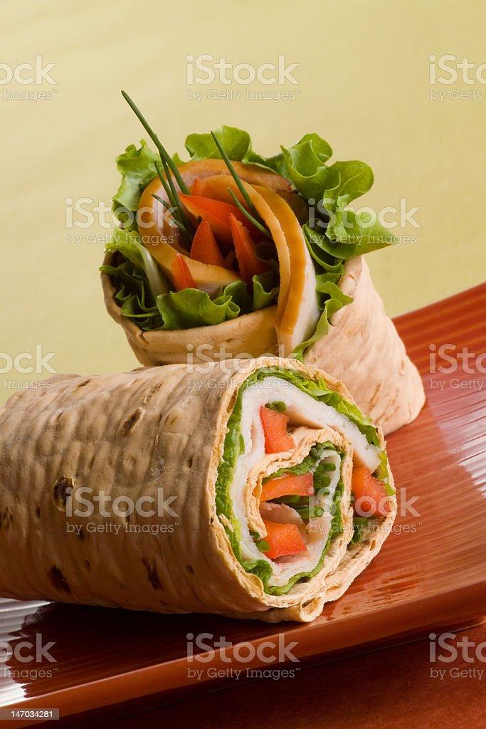 Sliced Turkey wrap royalty-free stock photo