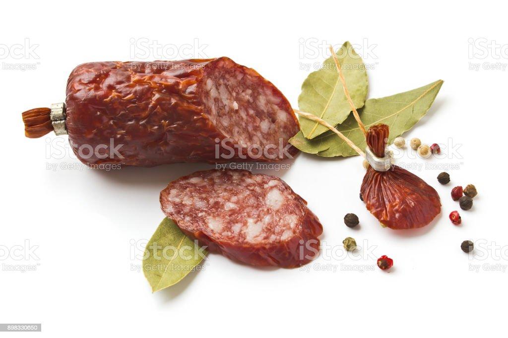 Sliced 'u200b'u200bsausage with spices stock photo