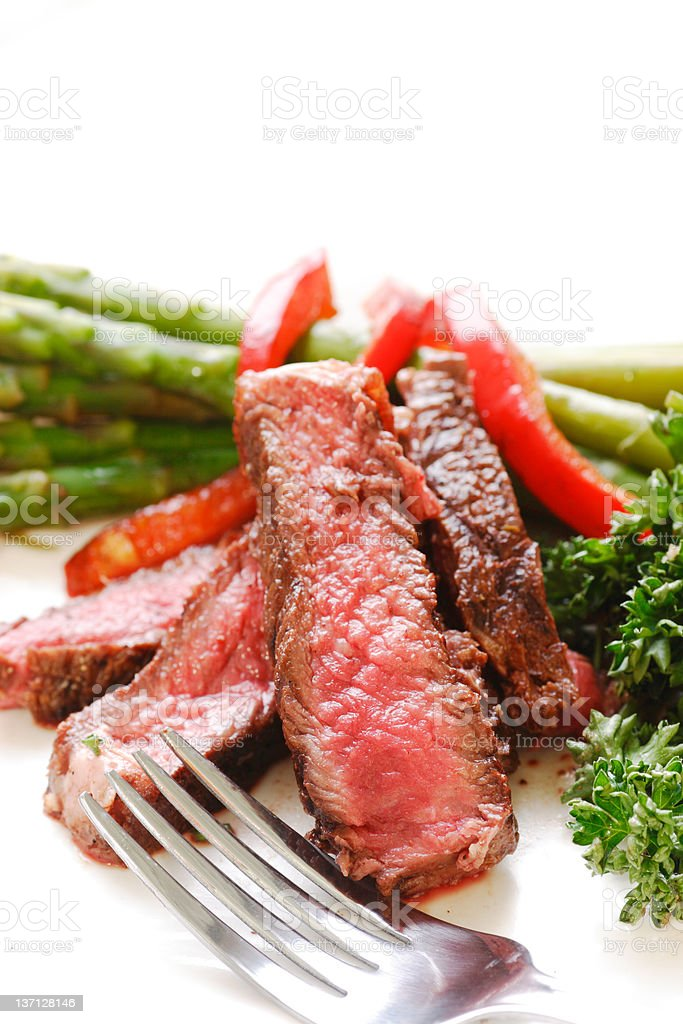 sliced up rare steak royalty-free stock photo