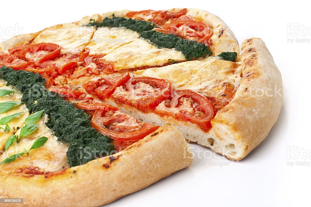 sliced vegetable pizza royalty-free stock photo