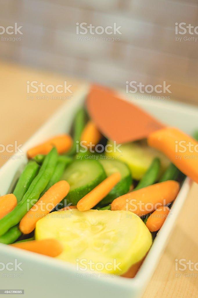 Sliced veggies in dish stock photo