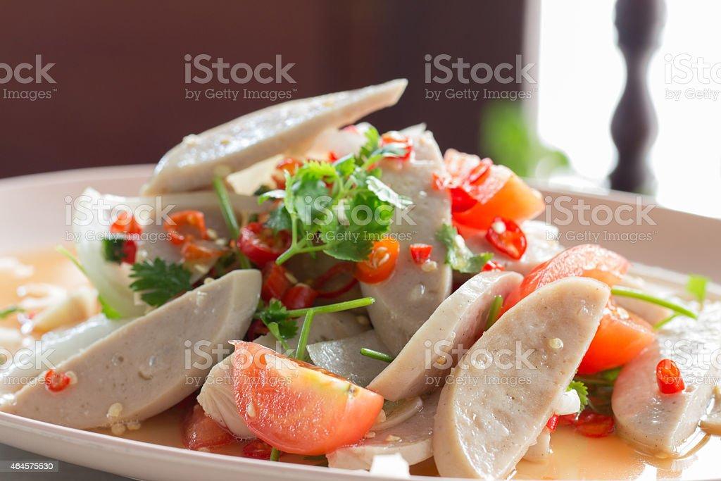 sliced vietnamese steamed pork sausage with sauce stock photo