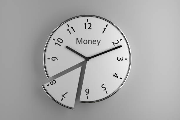 Sliced wall clock A sliced wall clock on white background with the word 'Money' on it as an imaginary brand. clock hand stock pictures, royalty-free photos & images