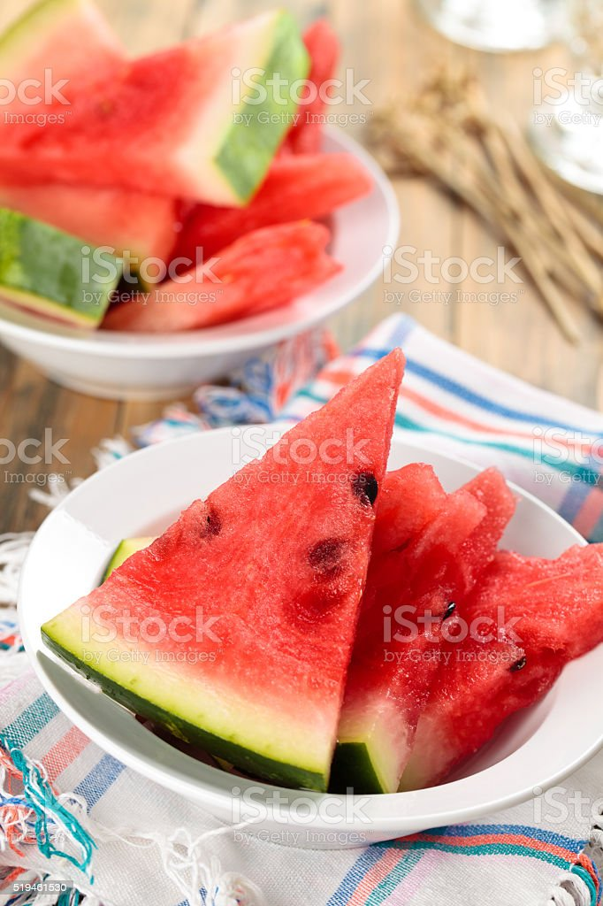 Sliced watermelon in plate. stock photo