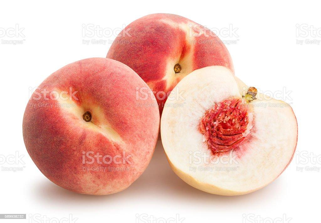 sliced white peach stock photo
