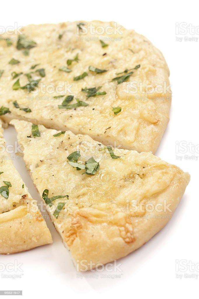 sliced white pizza stock photo