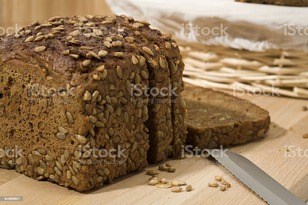 sliced whole grain brown bread stock photo
