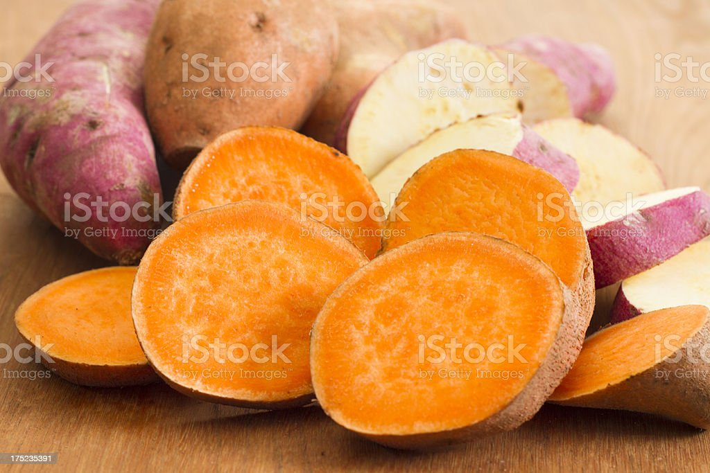 Sliced Yellow and White Fleshed Yams stock photo