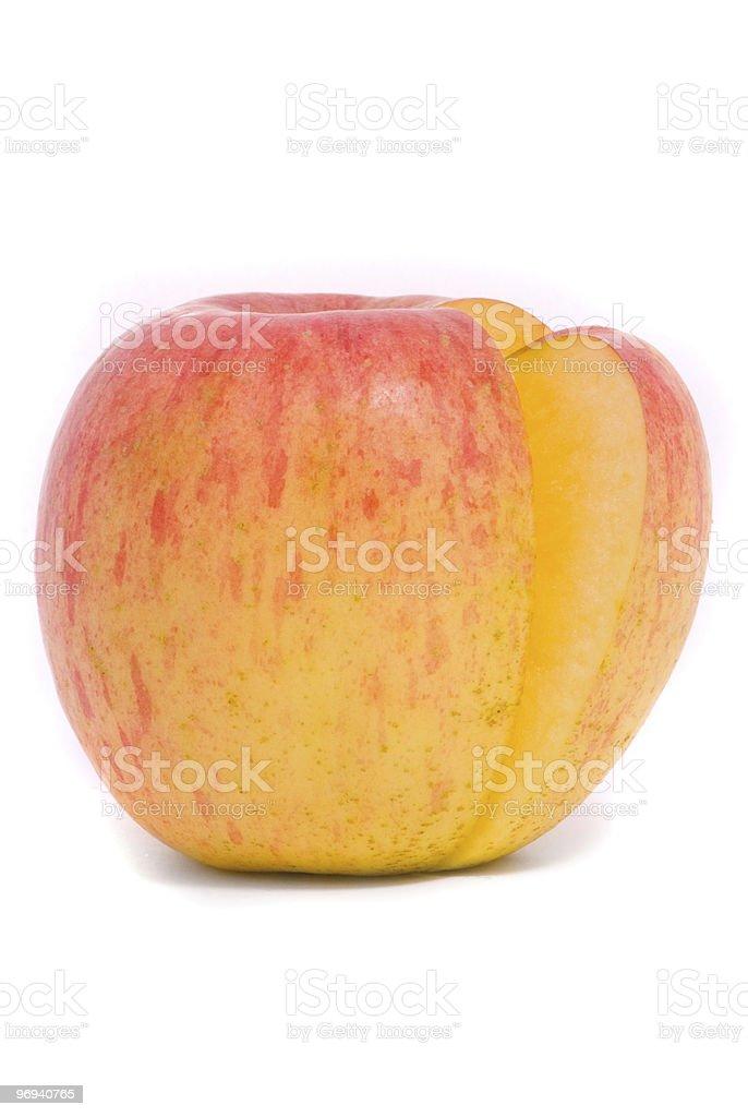 Sliced yellow ripe apple royalty-free stock photo
