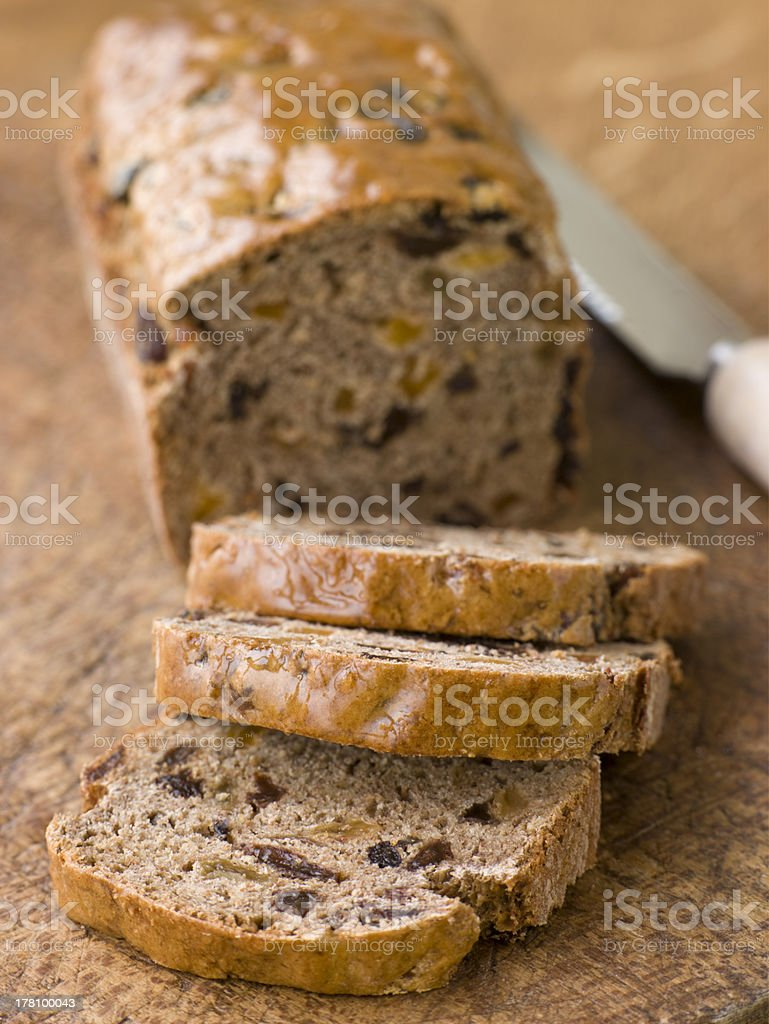 Slices from a Loaf of Bara Brith stock photo