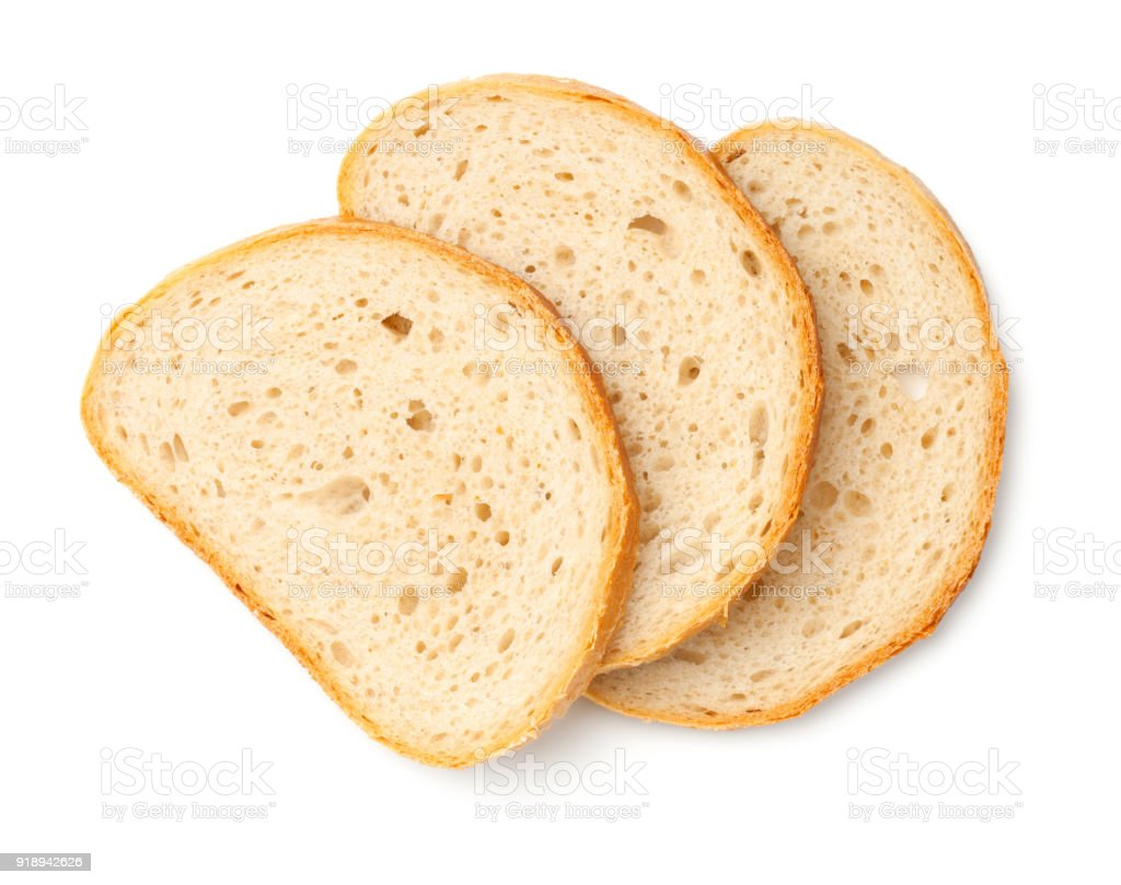 Slices of Bread Isolated on White Background stock photo