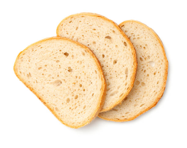 Slices of Bread Isolated on White Background - foto stock