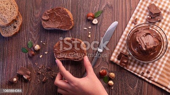 Chocolate, Hazelnut and Peanut paste Concept.