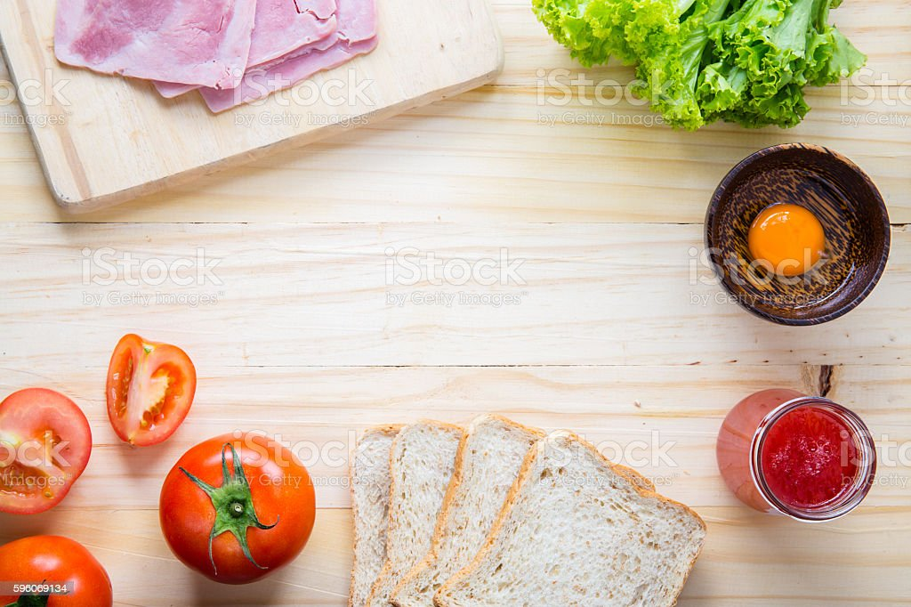slices of bread with jam and ham royalty-free stock photo