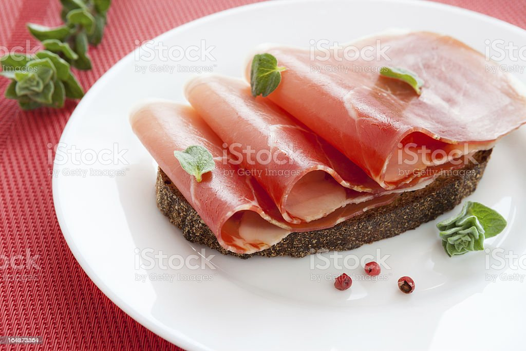 slices of delicious ham on a plate royalty-free stock photo