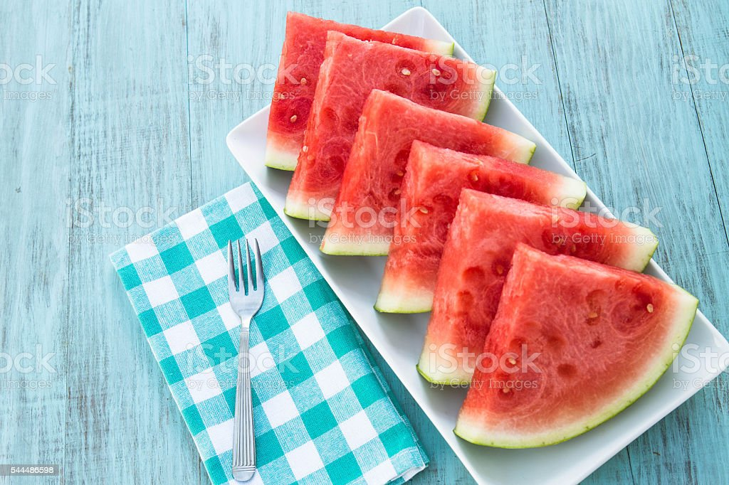 Slices of Delicious Watermelon Snack on Plate stock photo