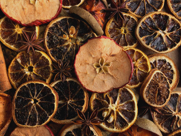 Slices of dried fruits stock photo