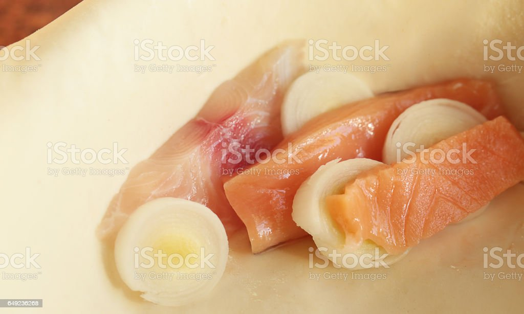 Slices of fish. stock photo