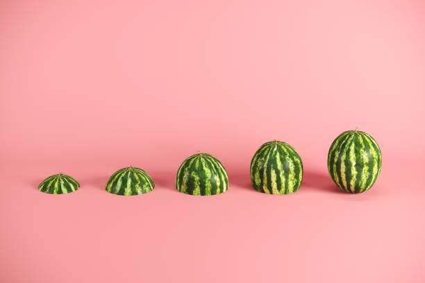 Frischmelone auf rosa Hintergrund. Minimales Fruchtgedankkonzept. – Foto