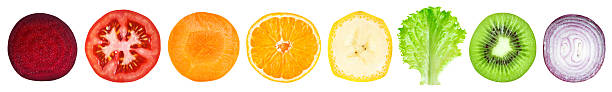 Slices of fruit and vegetable stock photo
