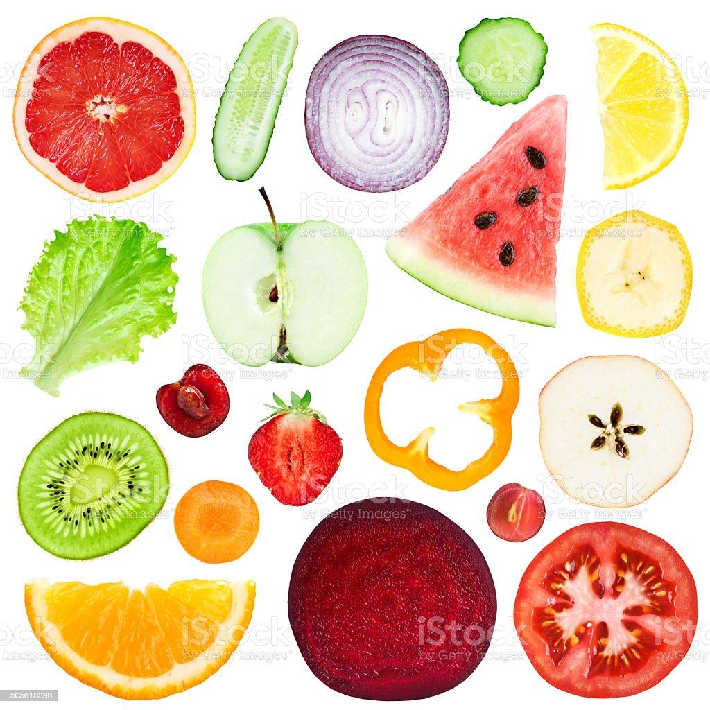 Scheiben von frischem Obst und Gemüse – Foto