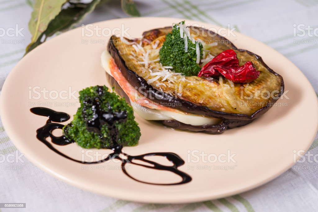 slices of grilled eggplant stuffed royalty-free stock photo