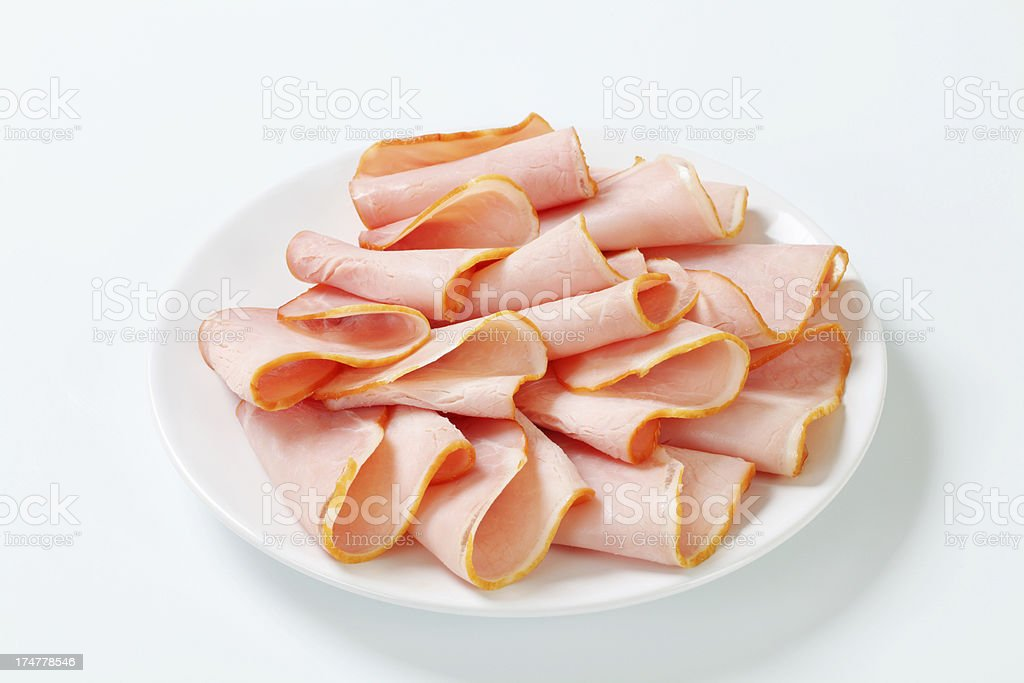 Slices of ham on a plate royalty-free stock photo