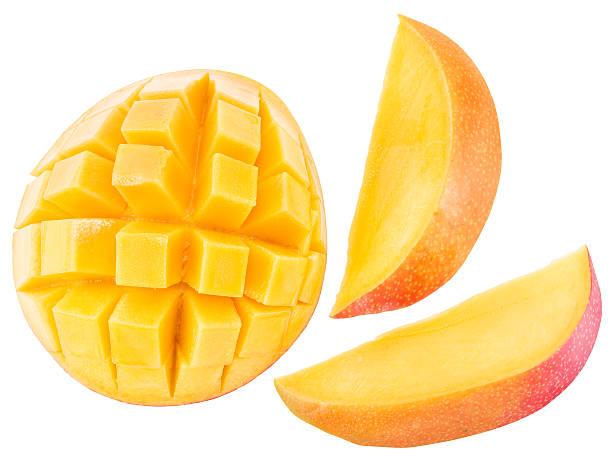 slices of mango fruit over white background. - mango fotografías e imágenes de stock