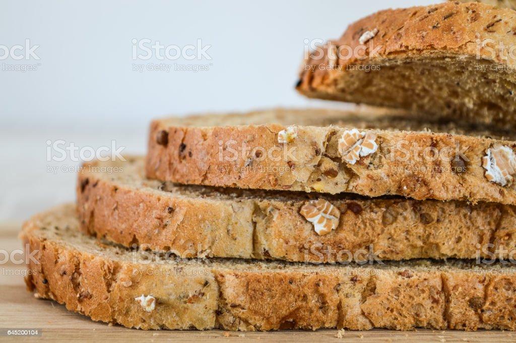 Slices of Multi-Grain Bread macro stock photo
