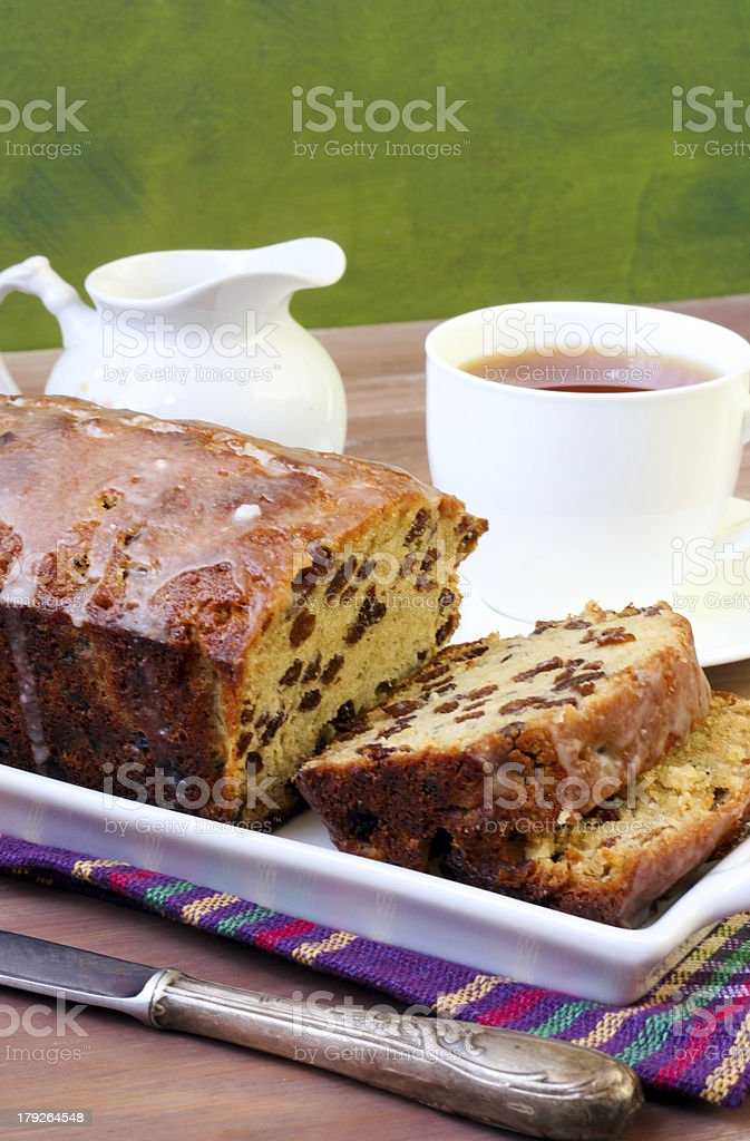 Slices of raisin loaf cake royalty-free stock photo