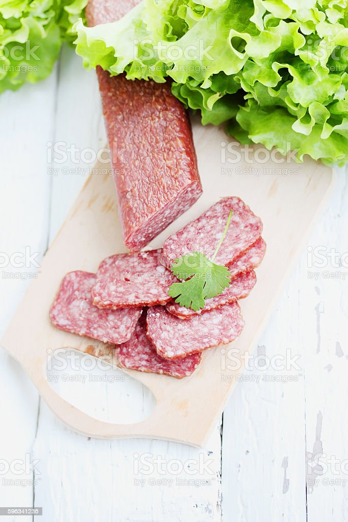 slices of salami royalty-free stock photo