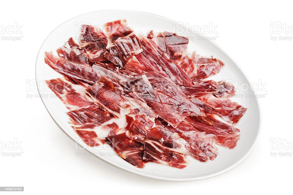 Slices of spanish ham stock photo
