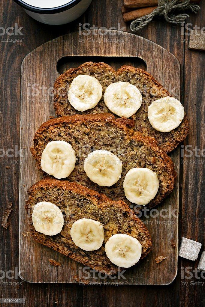 Slices of sweet banana bread stock photo
