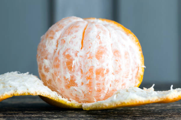 slices of tangerine without peel stock photo