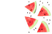 slices of watermelon isolated on white background with copy space for your text. Top view. Flat lay pattern.