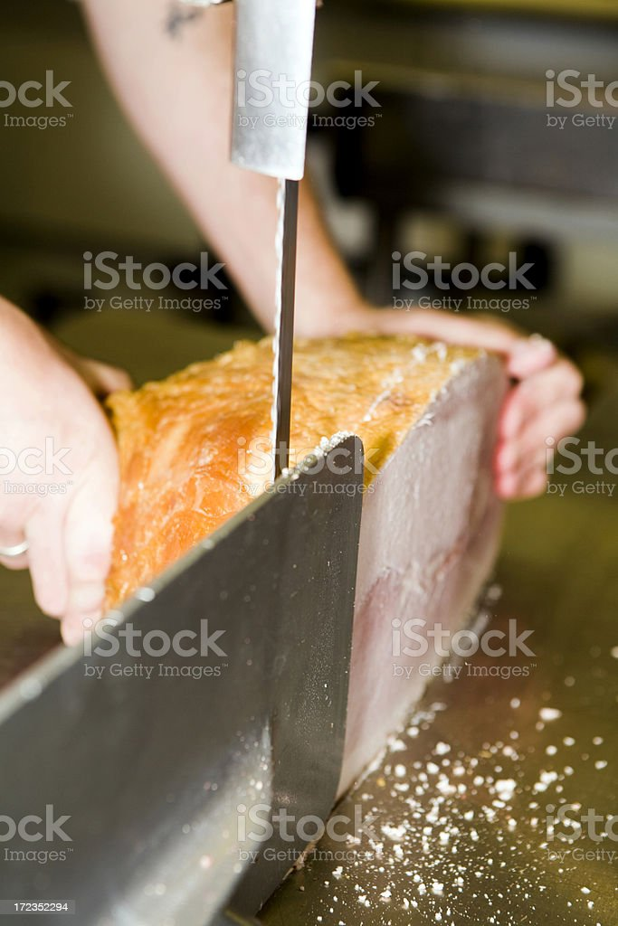 Slicing A Ham royalty-free stock photo