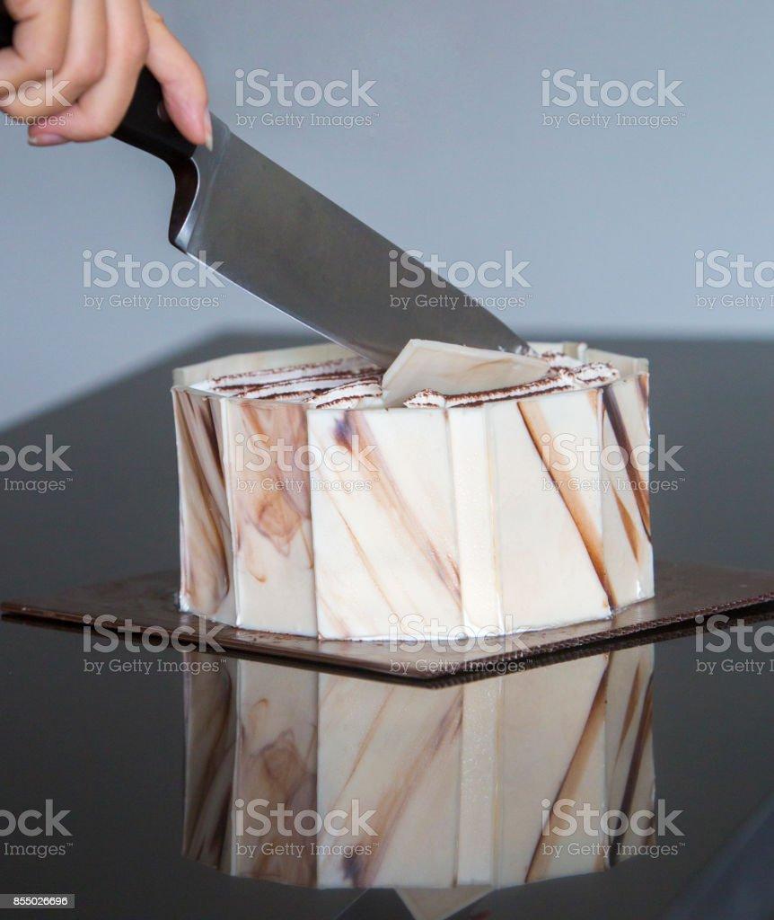 Slicing cake stock photo