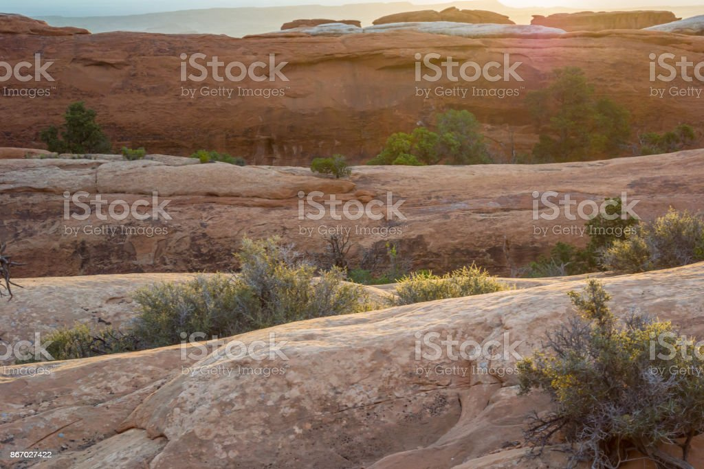 Slick Rock Layers in Devils Garden stock photo
