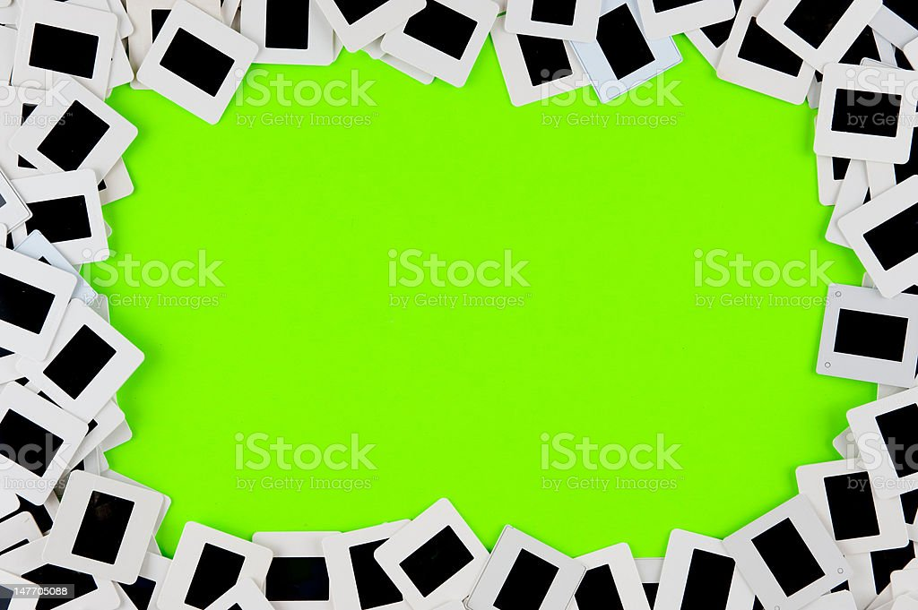 Slide collage border background with green knock out area royalty-free stock photo