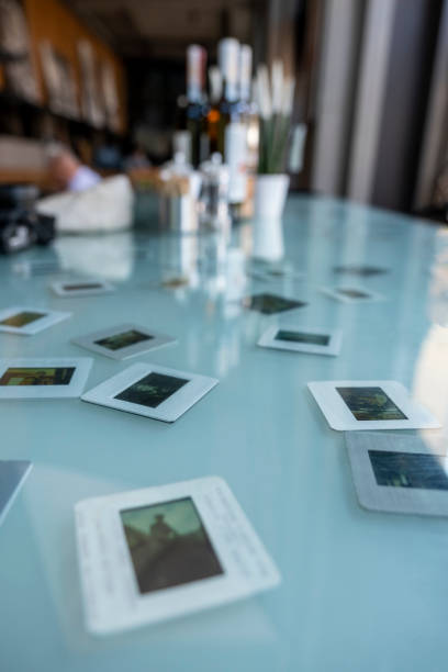 Slide frames on table as decoration stock photo