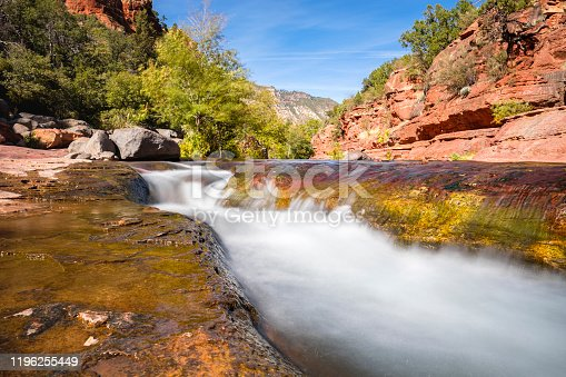 The natural beauty of Slide Rock State Park with its rock water slides in Oak Creek Canyon near Sedona in northern Arizona.