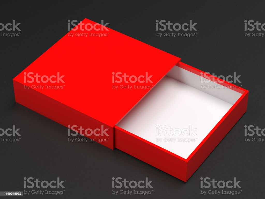 Slider box. Red blank open box mock up. On black background. 3d...