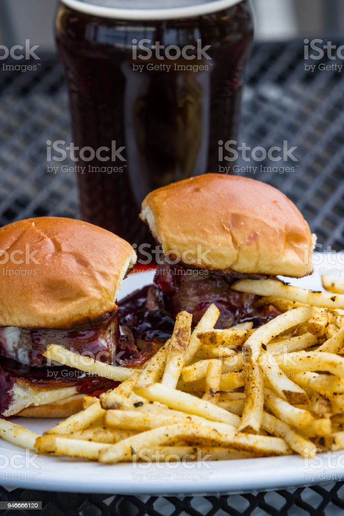 sliders and fries stock photo