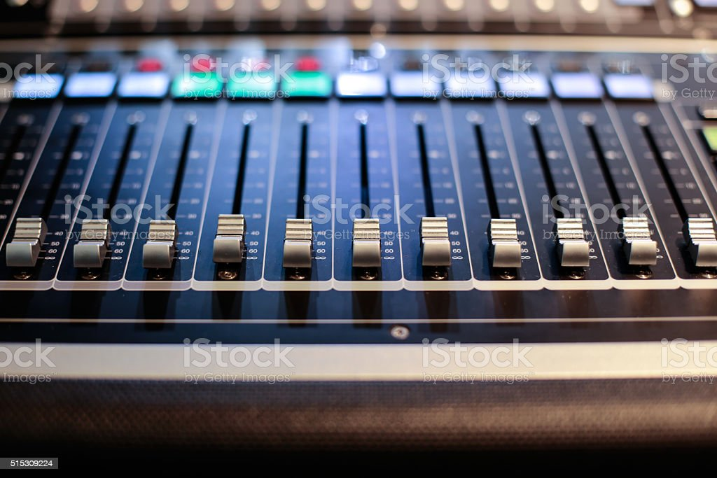 Sliders of the Hi-End stage controller stock photo