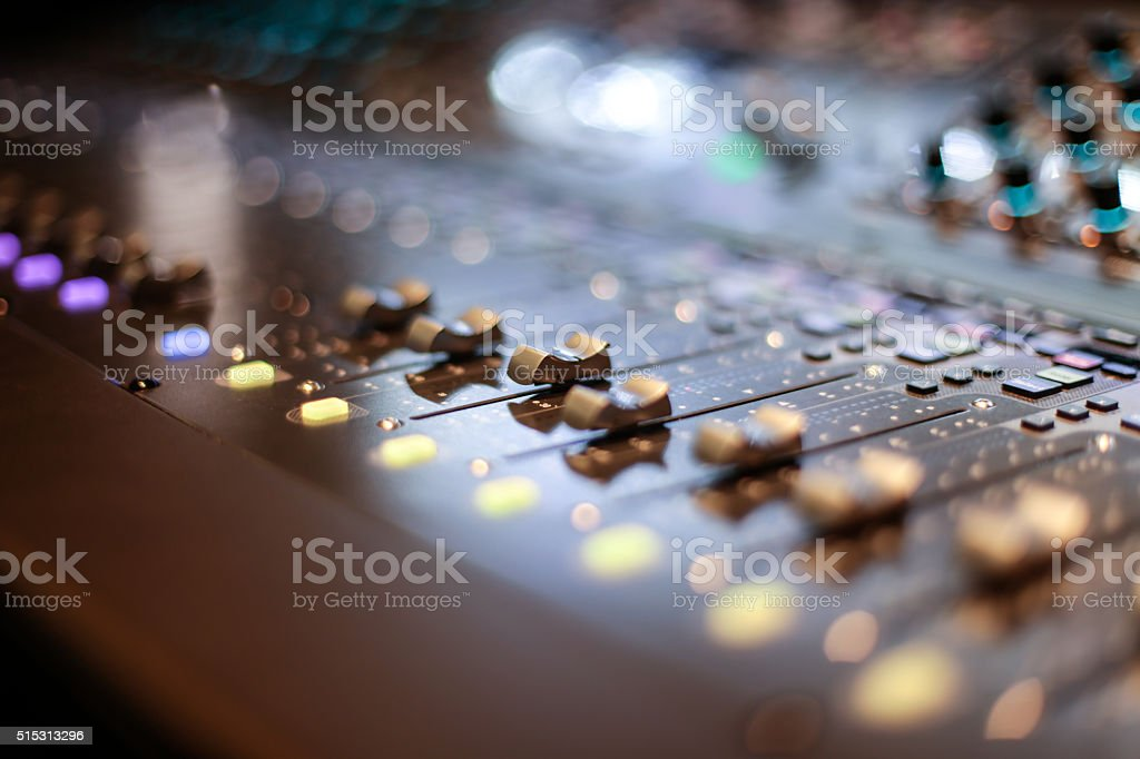 Sliders of the stage controller stock photo